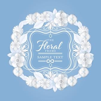 Abstrakter weißer blumenkranz mit weinlesegrenzvektorillustration. weißer eleganter blumenrahmen mit papierschnitt-artgraphik.