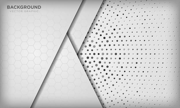 Abstrakter weißer dimensionsüberlappungshintergrund mit sechseckmuster auf silbernem radialem halbton.