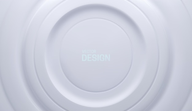 Abstrakter weißer hintergrund im neumorphismusstil mit konzentrischen geometrieformen