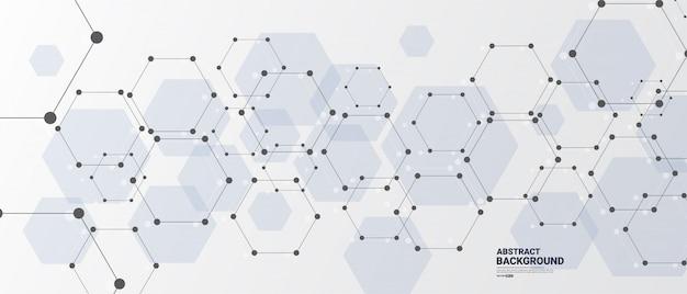 Abstrakter weißer hintergrund mit sechseckigen linien.