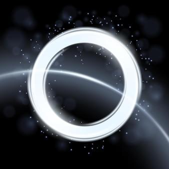 Abstrakter weißer kreis isoliert auf weltraumhintergrund eleganter lichtring