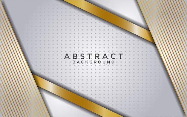 Abstrakter weißer überlappungshintergrund mit goldener linie