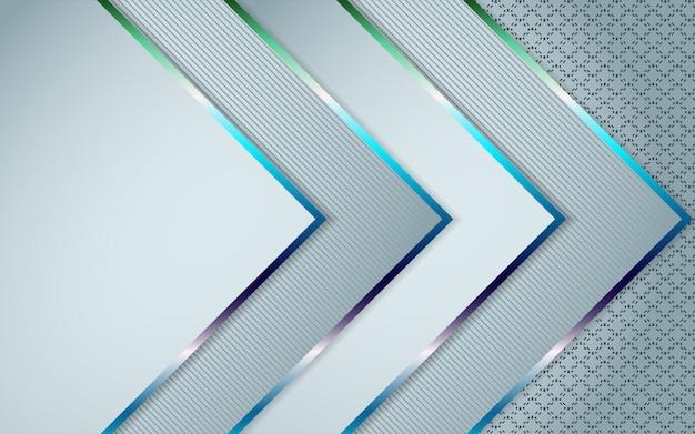 Abstrakter weißer überlappungsschichthintergrund eine kombination mit bunter linie dekoration