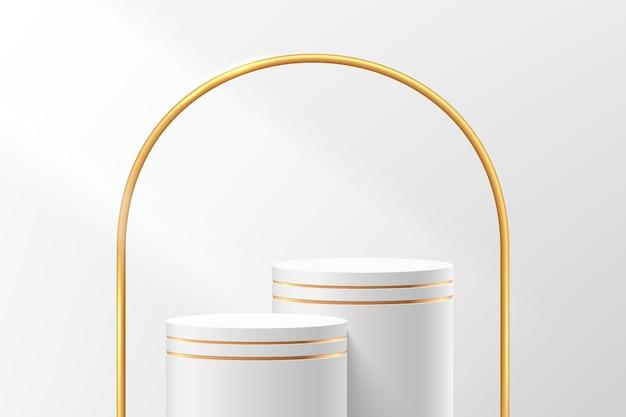 Abstrakter weißer und goldener 3d-zylindersockel oder standpodest mit luxuriösem goldenem bogenhintergrund