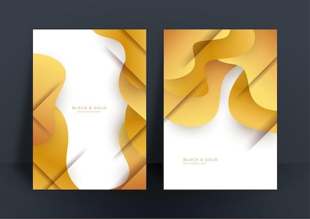 Abstrakter weißer und goldener abdeckungsentwurfsschablonenhintergrund. gold abstrakte formen muster in premium-goldfarbe. luxuriöses goldenes streifenvektorlayout für geschäftshintergrund, zertifikat, broschürenvorlage