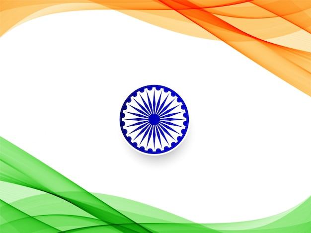 Abstrakter wellenförmiger hintergrund der indischen flagge