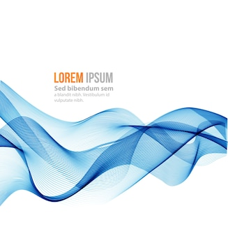 Abstrakter wellenhintergrund. blaue rauchwelle. blauer wellenhintergrund, blaue transparente wellenlinien für broschüre, website.