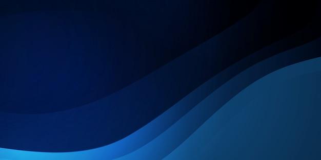 Abstrakter wellenhintergrund dunkelblau mit modernem unternehmenskonzept