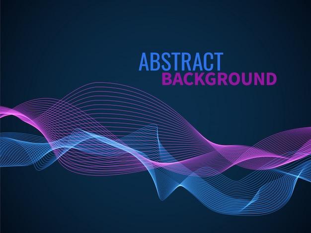 Abstrakter wellenhintergrund. grafiklinie schall- oder schallflussmusikwelle, farbdynamische form wellige mischtextur