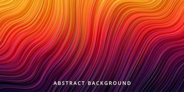 Abstrakter wellenhintergrund. streifenlinienmustertapete in heißer orangegelber farbe