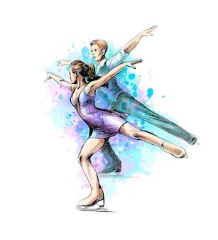 Abstrakter wintersport eiskunstlauf junge paar skater aus spritzer aquarelle. wintersport. illustration von farben.