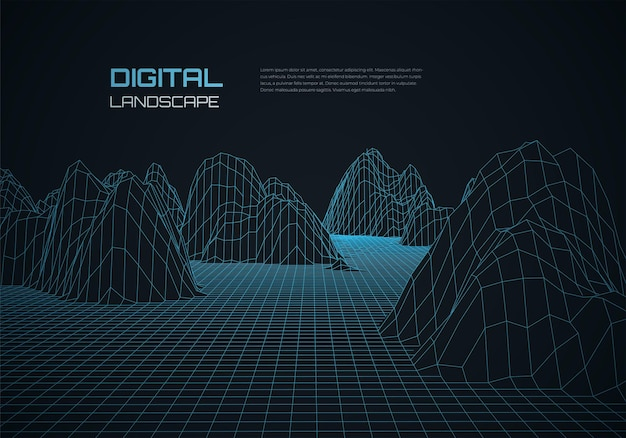 Abstrakter wireframe-landschaftshintergrund futuristisches cyberspace-gitter