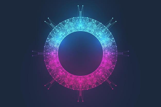 Abstrakter wissenschaftlicher hintergrund mit dynamischen partikeln, wellenfluss. 3d-datenvisualisierung mit fraktalen elementen. cyberpunk-stil. digitale vektorillustration