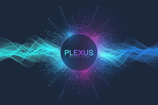 Abstrakter wissenschaftlicher hintergrund mit dynamischen partikeln, wellenfluss. plexus-stream-hintergrund. 3d-datenvisualisierung mit fraktalen elementen. cyberpunk-stil. digitale vektorillustration.