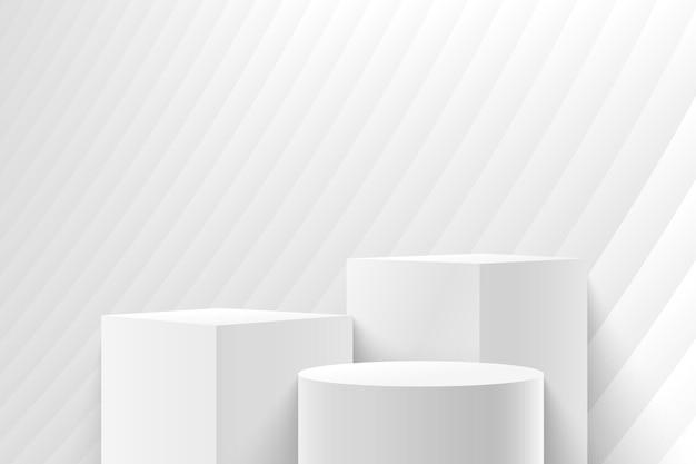 Abstrakter würfel & runde anzeige für produktpräsentation