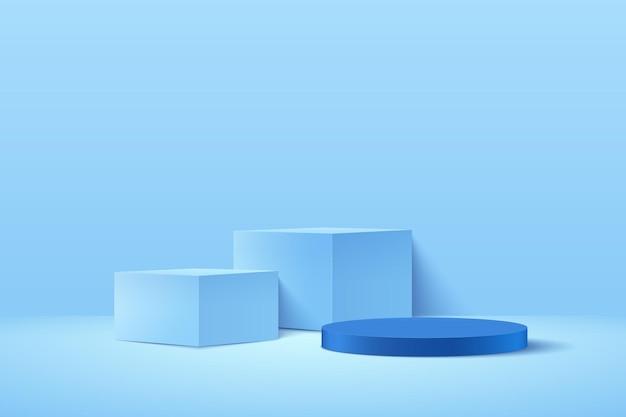 Abstrakter würfel und runde anzeige für produkt auf website in modern.