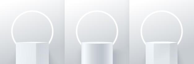 Abstrakter würfel und runde anzeige modern. geometrische form des podiums 3d, die geometrische form wiedergibt.