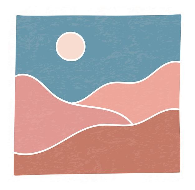 Abstrakter zeitgenössischer bergwüsten-sonnenuntergang der trendigen minimalistischen landschaft