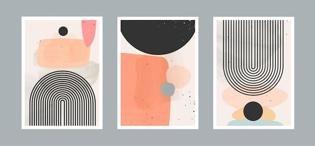 Abstrakter zeitgenössischer kunsthintergrund mit geometrischem gleichgewicht formt regenbogen und sonne