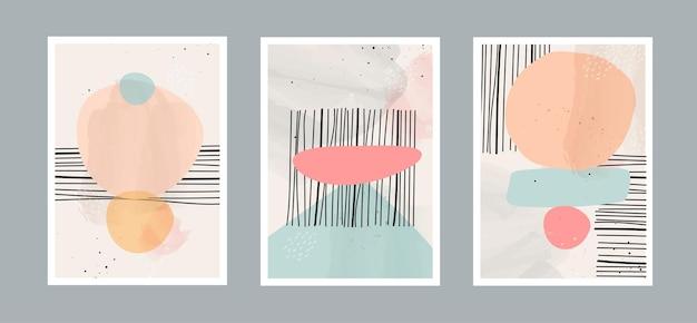 Abstrakter zeitgenössischer kunsthintergrund mit geometrischer balance formt regenbogen und sonne für wand