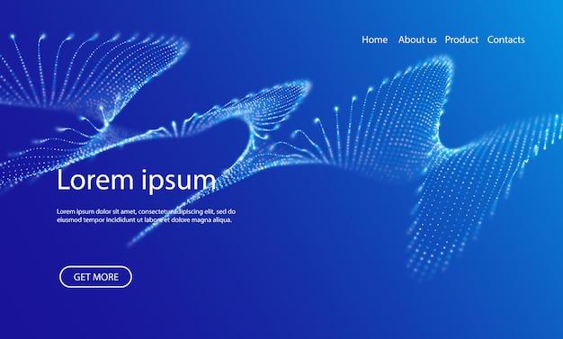 Abstrakter zielseitenhintergrund mit blauen partikeln technologievektorillustration