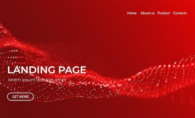 Abstrakter zielseitenhintergrund mit roten partikeln technologievektorillustration