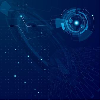 Abstrakter zukünftiger technologiehintergrund. futuristisches cyberspace-tech-konzept. sci-fi-schnittstellensystem. hintergrund