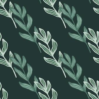 Abstrakter zweig mit nahtlosem muster der blätter auf grünem hintergrund.