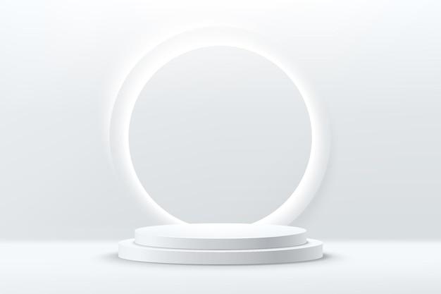 Abstraktes 3d glänzendes silbernes zylindersockelpodest mit kreisglühender neonbeleuchtung
