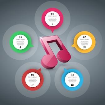 Abstraktes 3d infographik. notizsymbol. musik-symbol.