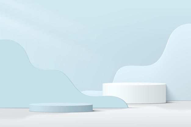Abstraktes 3d-weiß-blaues zylindersockelpodest mit hellblau geschichtetem hintergrund in gewellter form