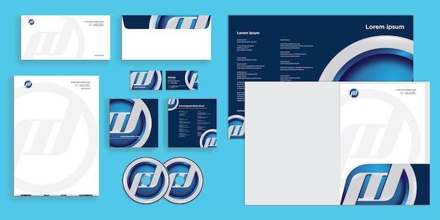 Abstraktes abgerundetes emblem-logo moderne corporate business-identität stationär