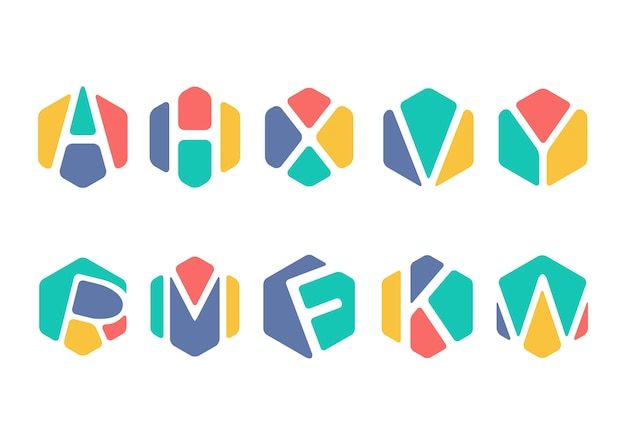 Abstraktes alphabet hexagon symbol