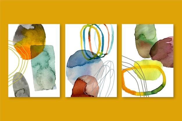 Abstraktes aquarell deckt sammlung mit verschiedenen formen ab