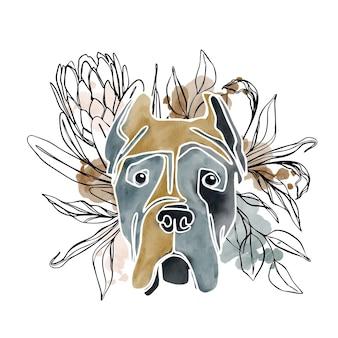 Abstraktes aquarellhundeporträt mit blumenartelementen der linienkunst