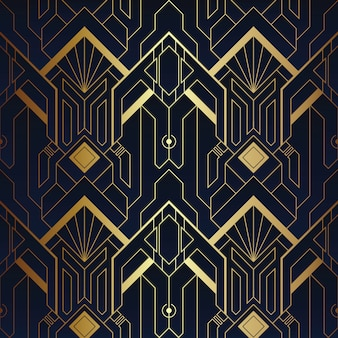 Abstraktes art deco-nahtloses blaues und goldenes muster