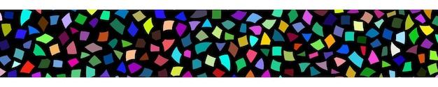 Abstraktes banner aus kleinen farbigen papierstücken oder keramiksplittern auf schwarzem hintergrund
