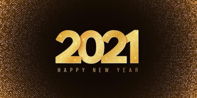 Abstraktes banner für ein frohes neues jahr 2021. festlicher hintergrund. halbton leuchtendes muster. goldene glitzernummern.