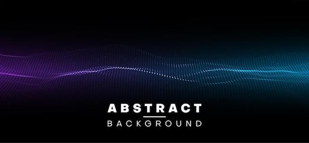 Abstraktes banner mit neonblauem und violettem wellenmuster