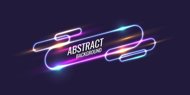 Abstraktes banner mit neonlinie auf dunklem hintergrund. vektor-illustration.