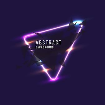 Abstraktes banner mit neonlinie auf dunklem hintergrund