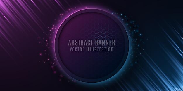 Abstraktes banner mit wabenmuster und leuchtenden strahlen. futuristisches design. blauer und lila lichteffekt und fliegende partikel.