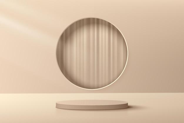 Abstraktes beige und braunes 3d-zylinderpodest mit kreisfenster und luxusvorhang im inneren