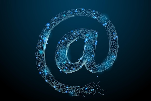Abstraktes bild des e-mail-symbols in form eines sternenhimmels oder eines raums, bestehend aus punktlinien