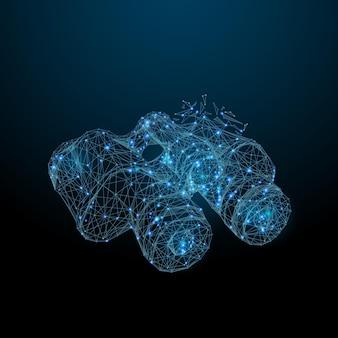 Abstraktes bild eines fernglases in form eines sternenhimmels oder eines raums, bestehend aus punktlinien