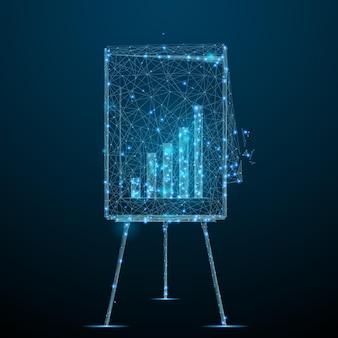 Abstraktes bild eines flipcharts mit diagramm eines sternenhimmels oder raumes, bestehend aus punktlinien