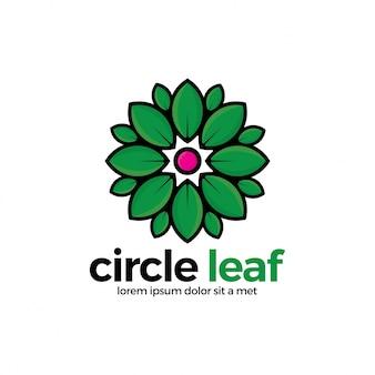 Abstraktes blatt-kreis-logo. grünes rundes logo mit blattvektor.