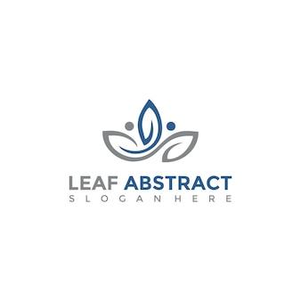 Abstraktes blatt und menschen logo vorlage