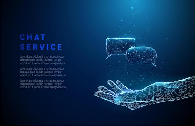 Abstraktes blau, das hand mit fliegenden chatboxen gibt.