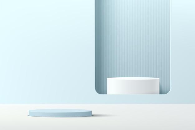 Abstraktes blaues 3d-zylindersockelpodium mit weißem podest im quadratischen fenster auf blauer wandszene